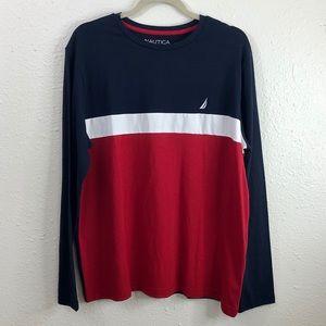 NWT Nautica Red, White Blue Long Sleeve Tee Shirt
